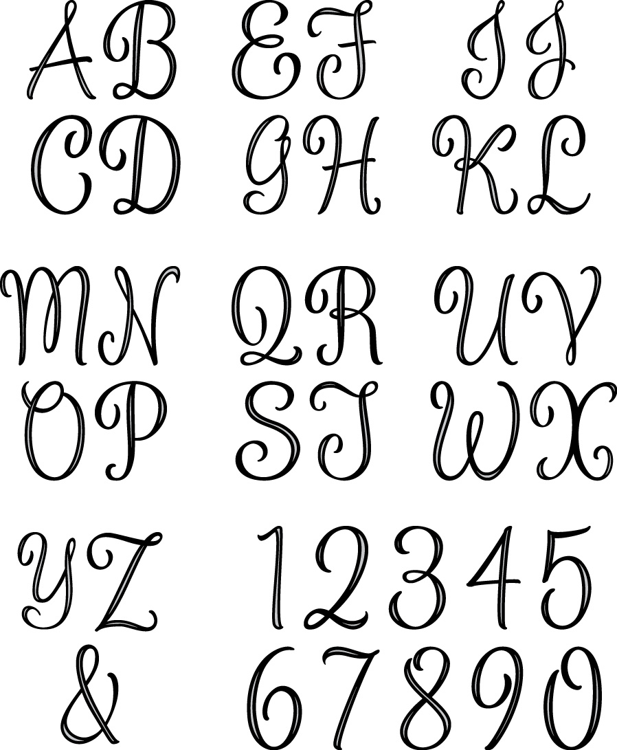7 Images of Free Printable Monogram Alphabet Letters
