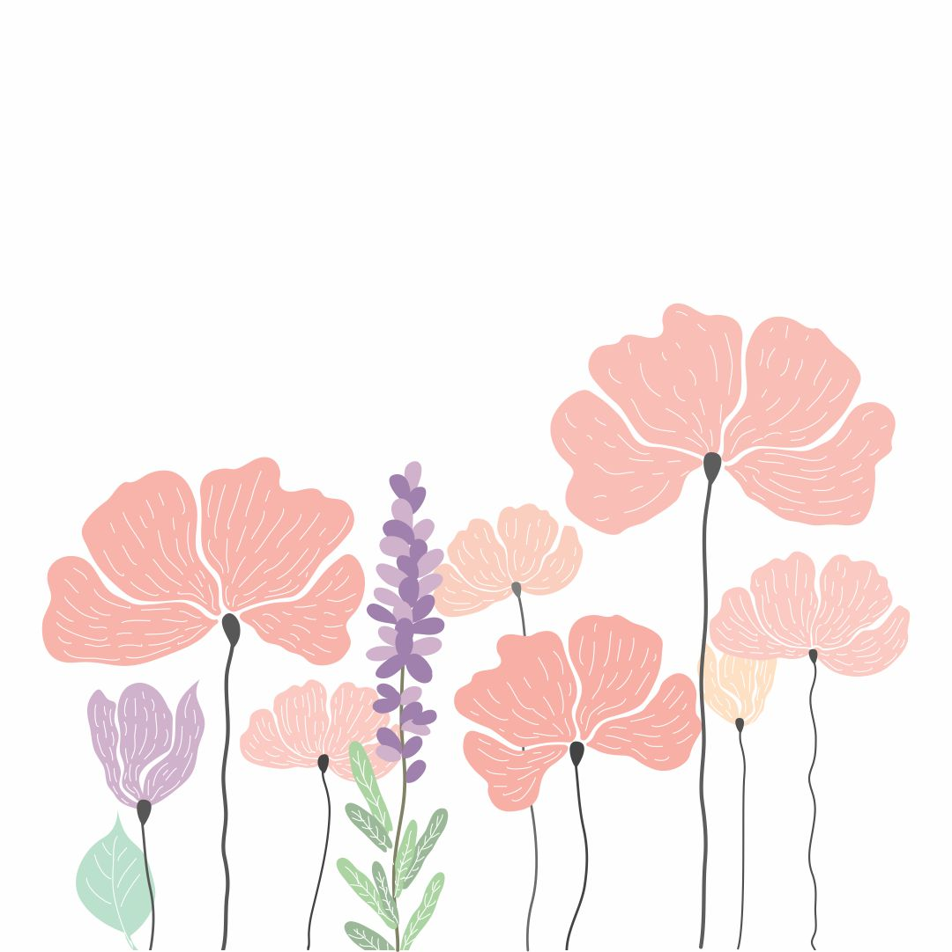 Printable Poppy Flower Stencil
