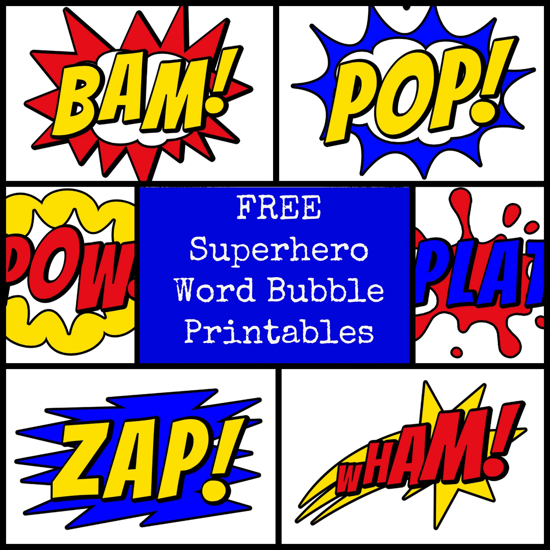 6 Images of Superhero Words Printables