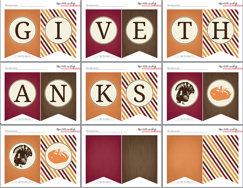 6 Images of Thanksgiving Give Thanks Banner Printable Free