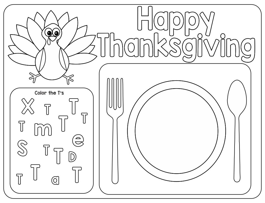 Free Printable Thanksgiving Placemats Template