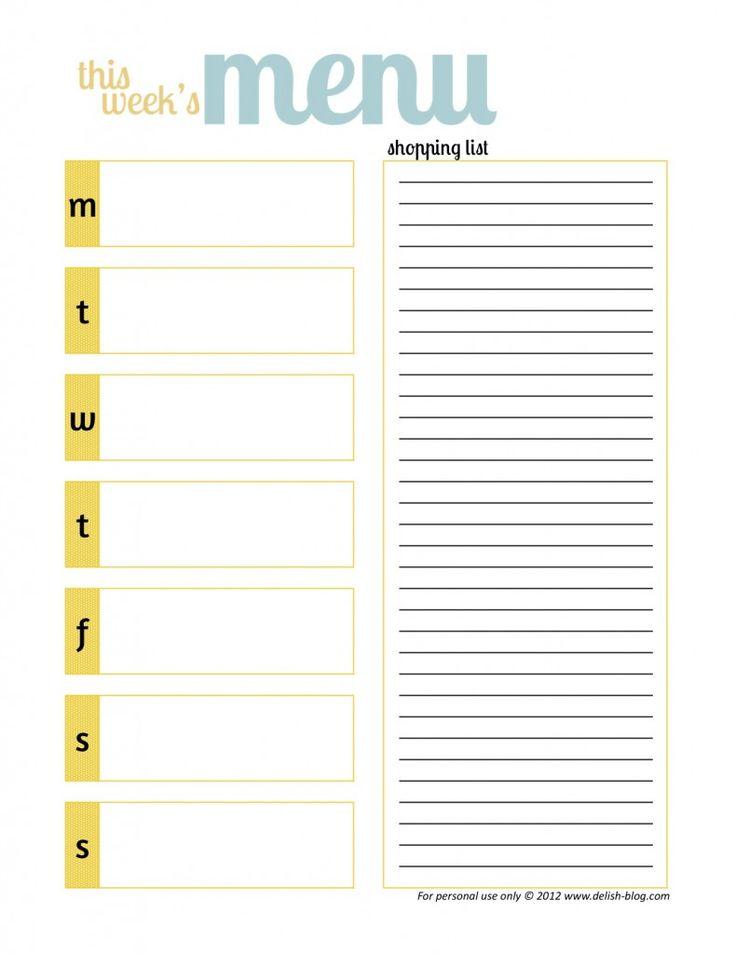 7 Images of Weekly Menu Planning Free Printables