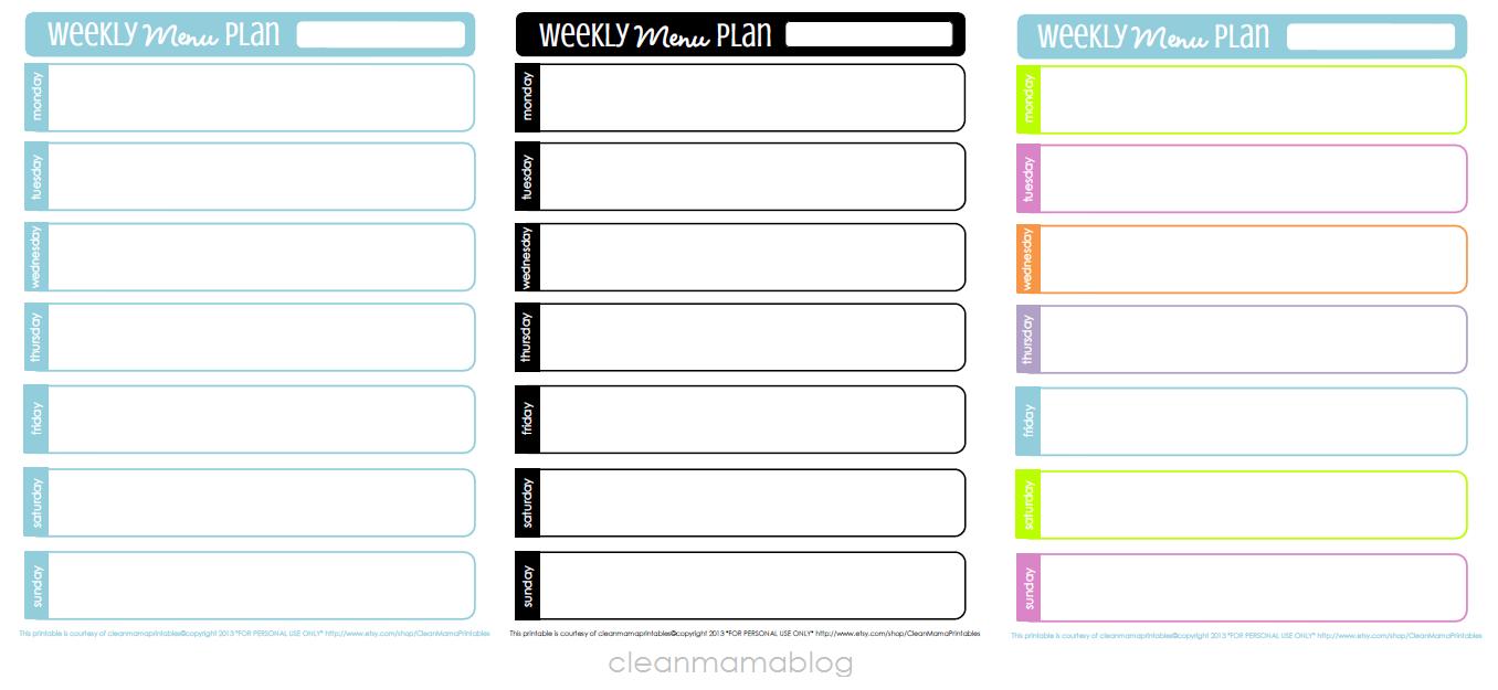Menu planner templates
