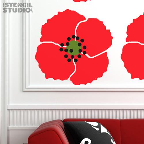 Giant Poppy Flower Stencil