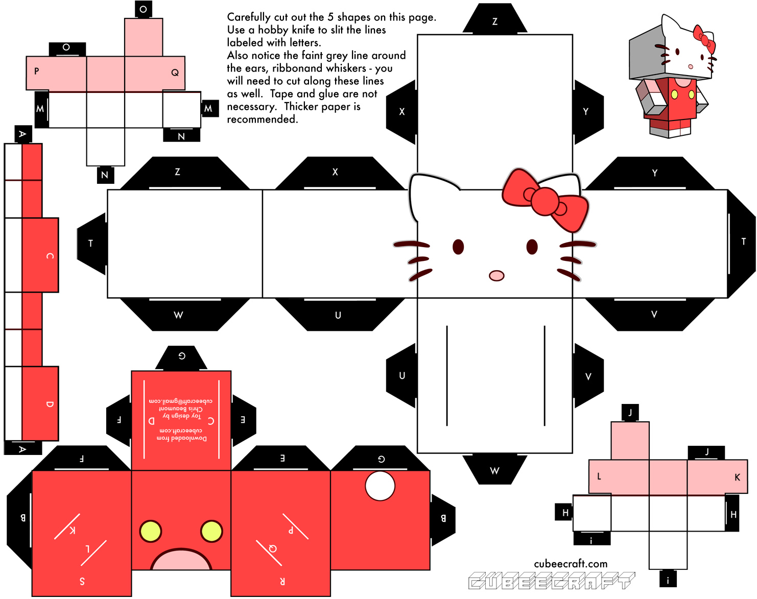 5 Images of Free Printable Hello Kitty Paper Crafts