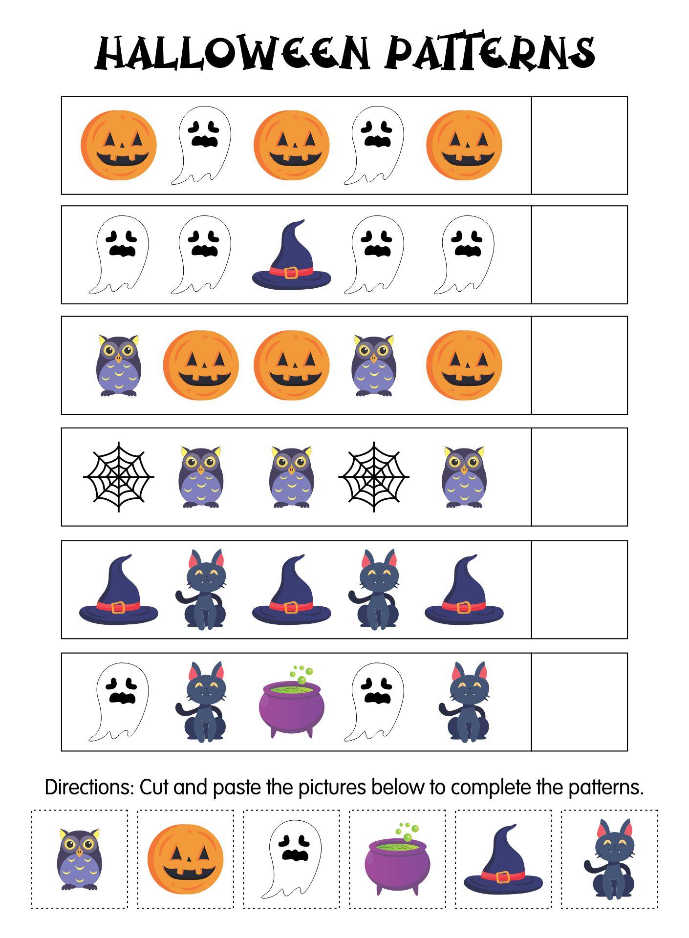 Kindergarten Halloween Pattern Worksheets Printables