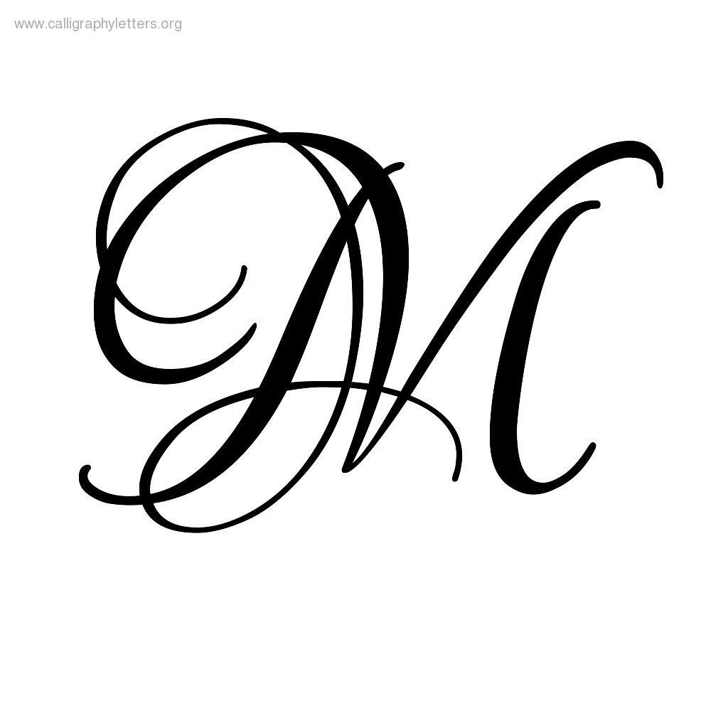 9 best images of printable calligraphy letters m for Fancy alphabet letter templates
