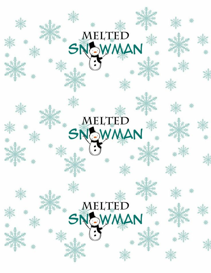 8 Images of Melted Snowman Water Bottle Label Printable
