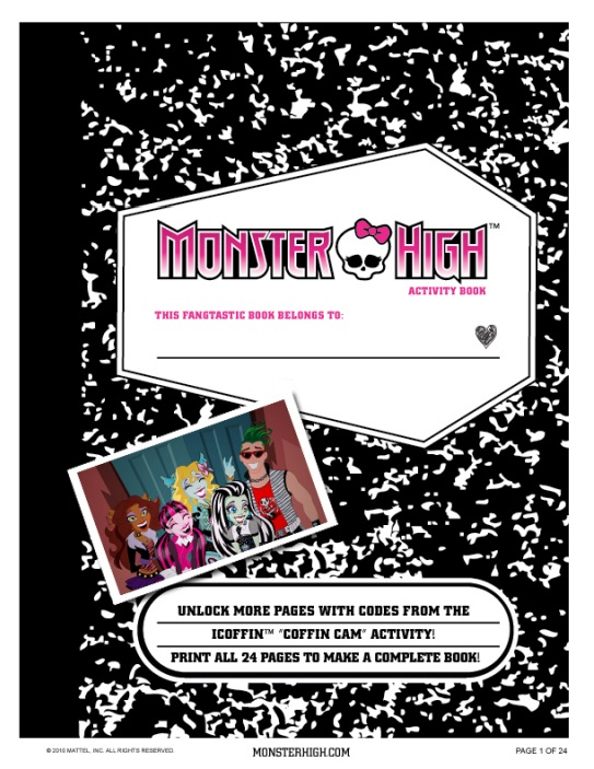 9 Images of Monster High Printable Activity Book