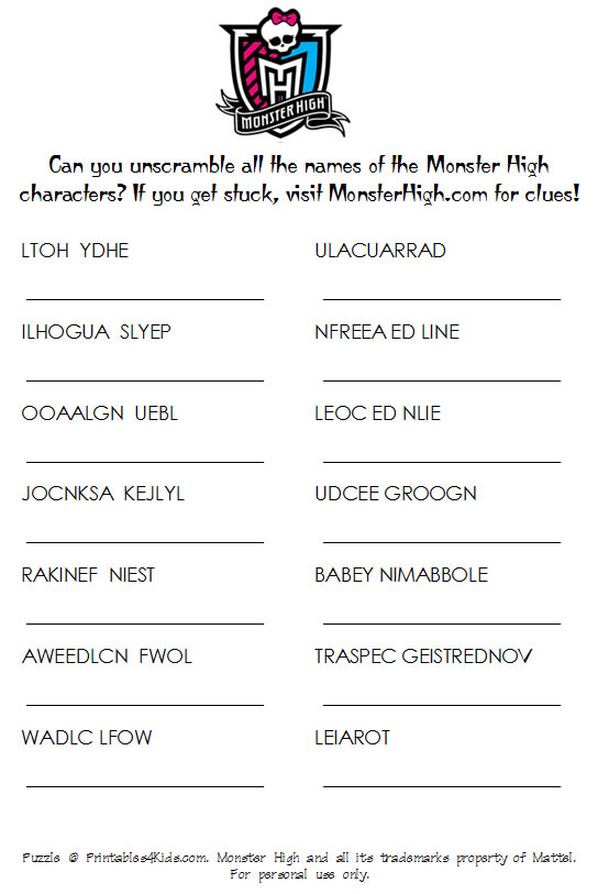 9 Images of Monster High Printable Worksheets