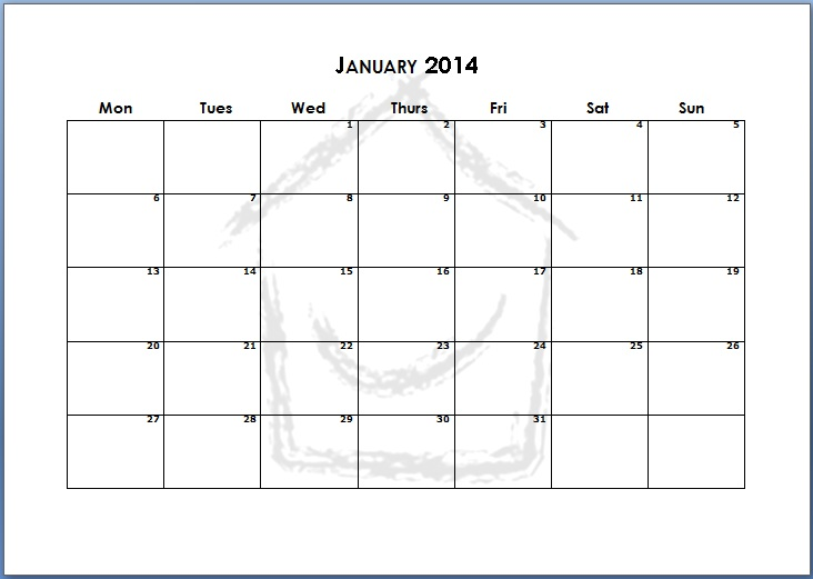 Printable 2014 Monthly Calendar Pages