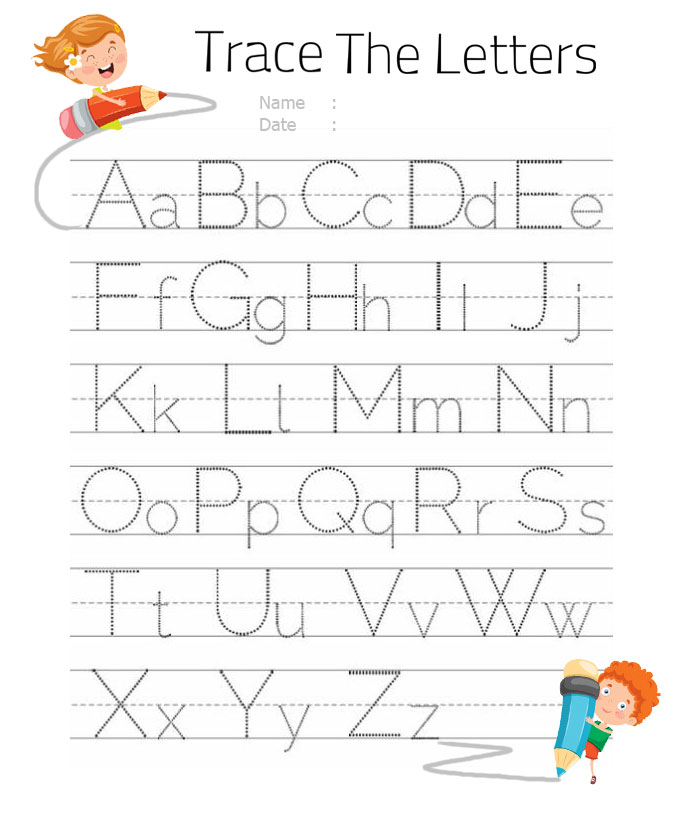 Printable alphabet A-Z letters tracing worksheet for kindergarten and kids activity