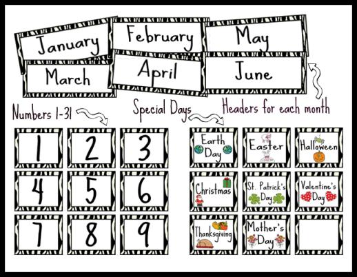 Classroom Calendar Printables : Free printable preschool calendar numbers ideas