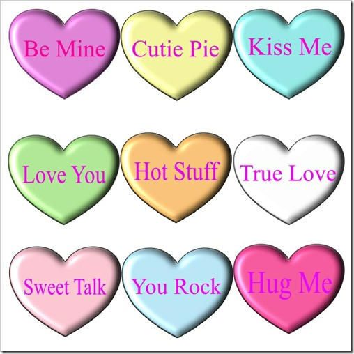 7 Images of Printable Valentine Conversation Heart Sayings