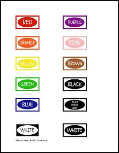 4 best images of crayon color words printable coloring for Crayon labels template
