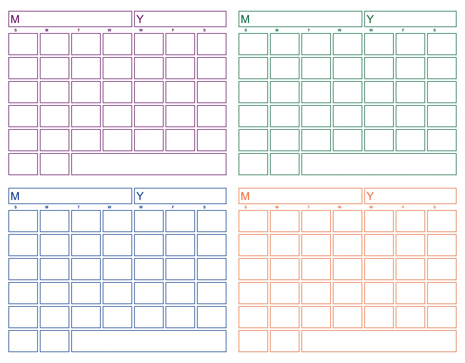 Printable Full Page Blank Calendar Template