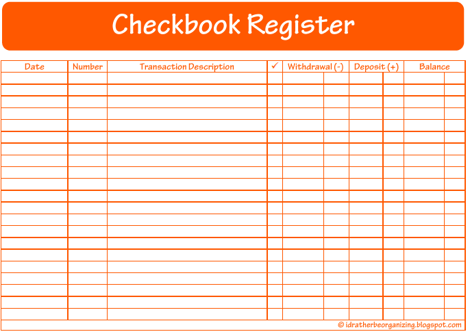 Printable Check Register Pages - Free Printable Checkbook Register ...