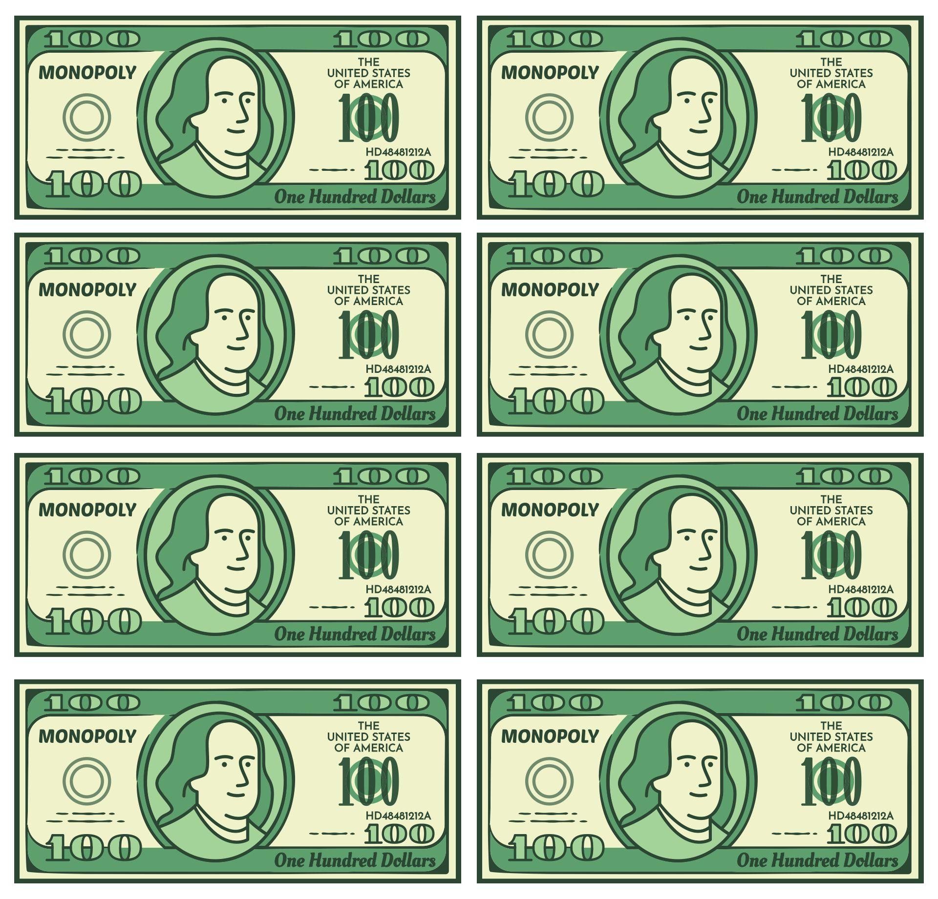Printable Monopoly Money 100