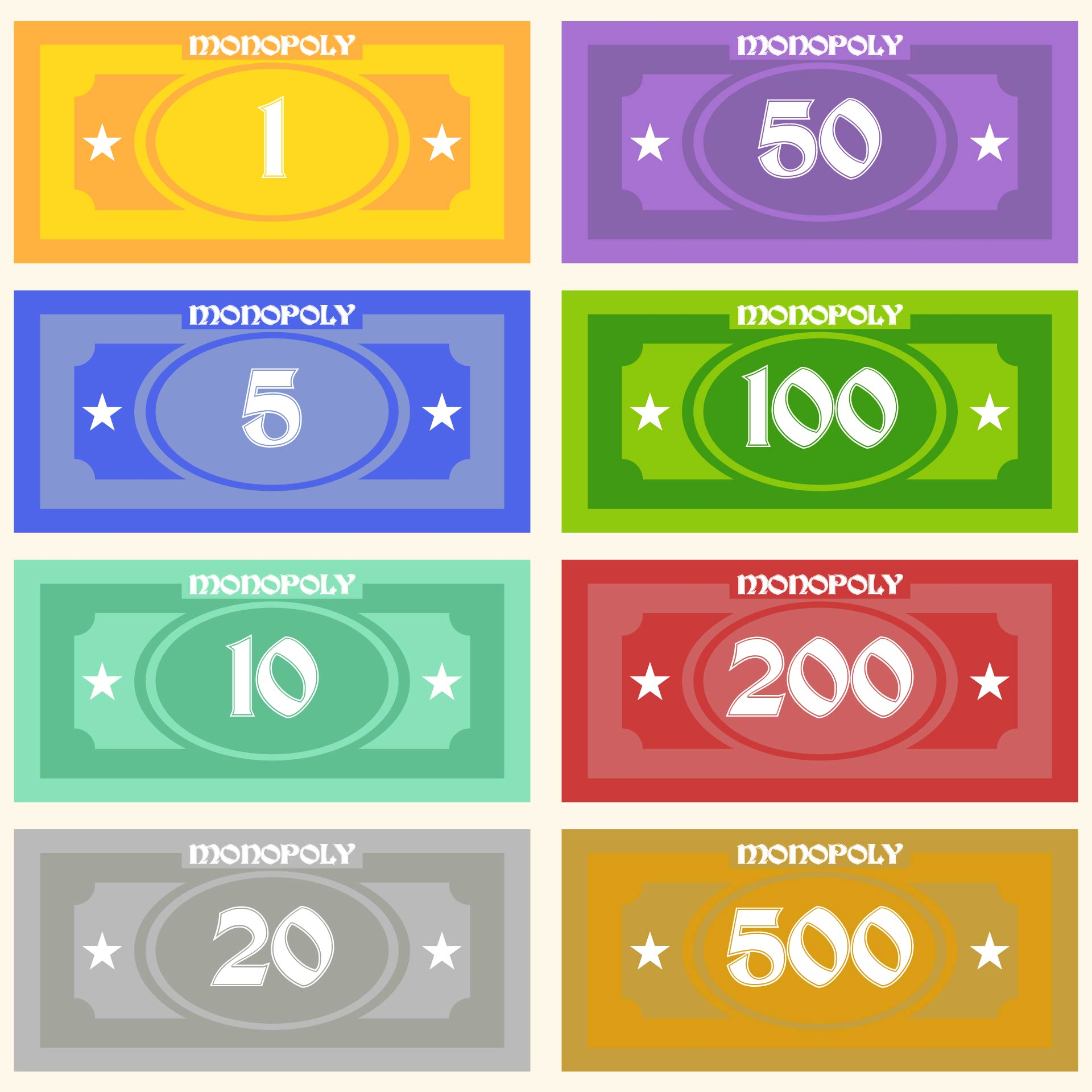 8 Images of Free Printable Monopoly Money Templates