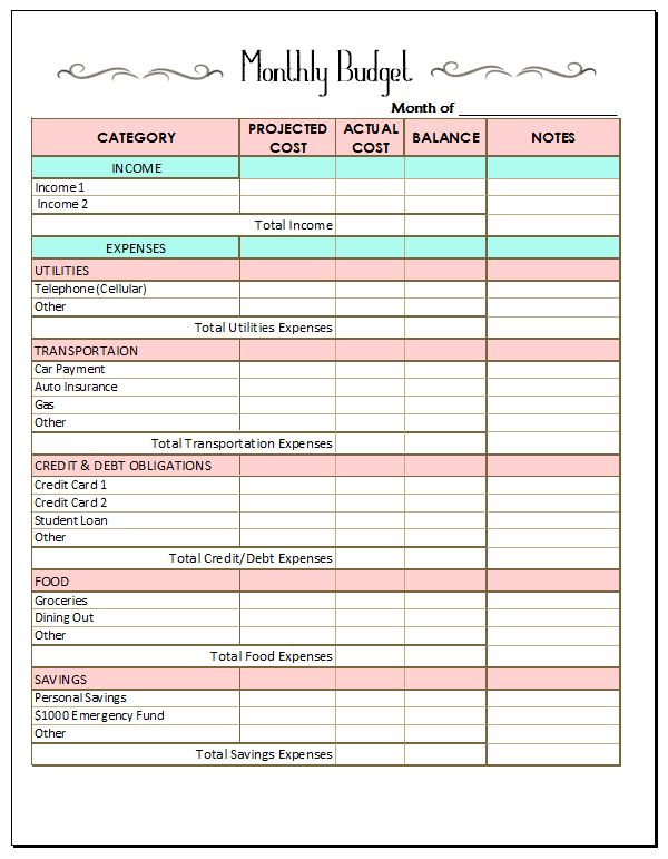 Free Printable Household Budget Worksheets – Crown Financial Budget Worksheet