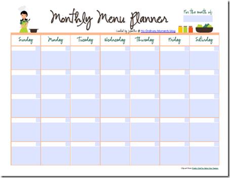 Printable Monthly Meal Planner Calendar