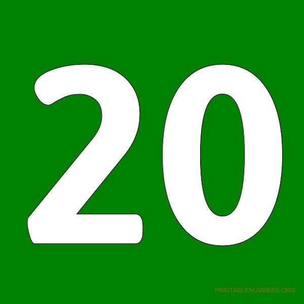 20 Images 7 best images of printable number 20 - printable numbers 1 ...