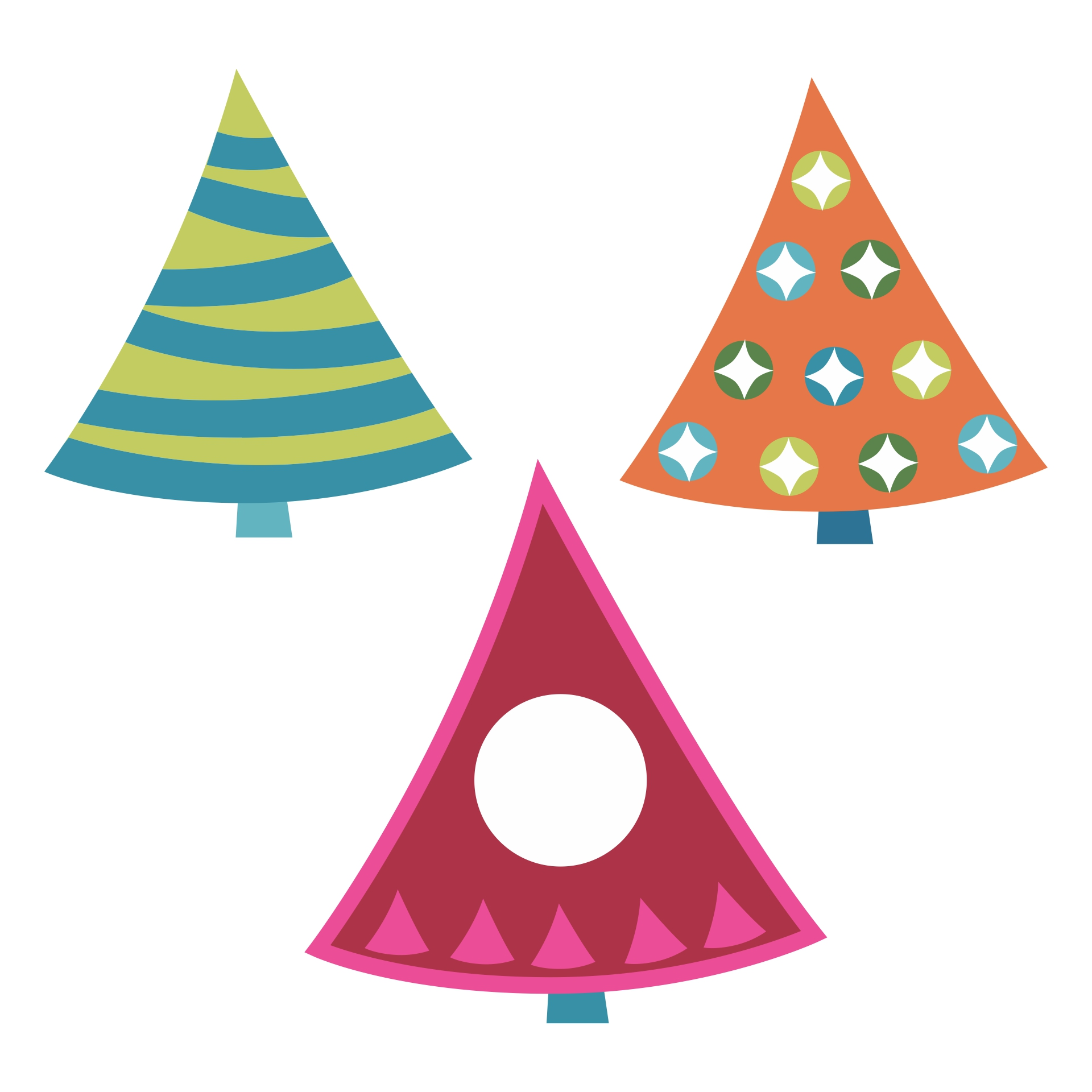 5 Images of Printable 3D Paper Christmas Trees