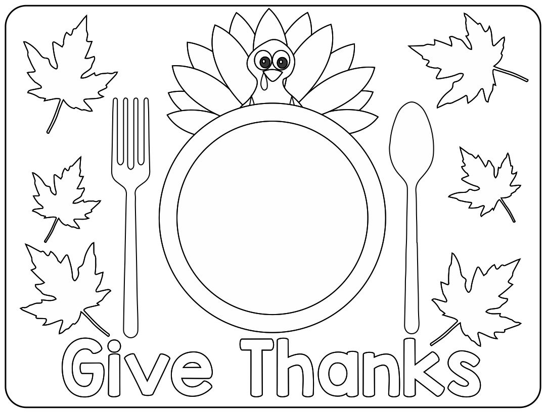 5 Images of Thanksgiving Placemat Printables