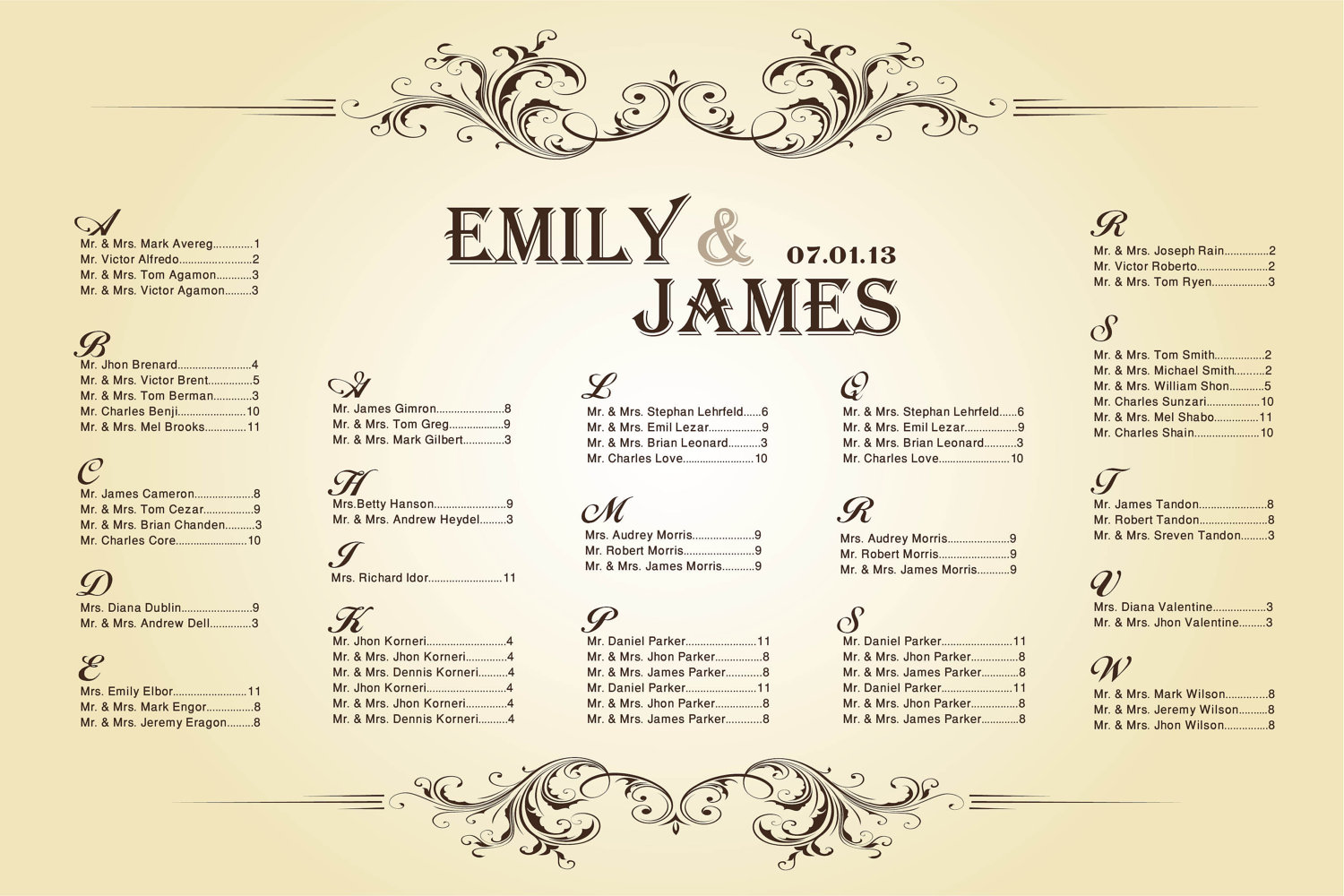 Wedding seating chart template excel free