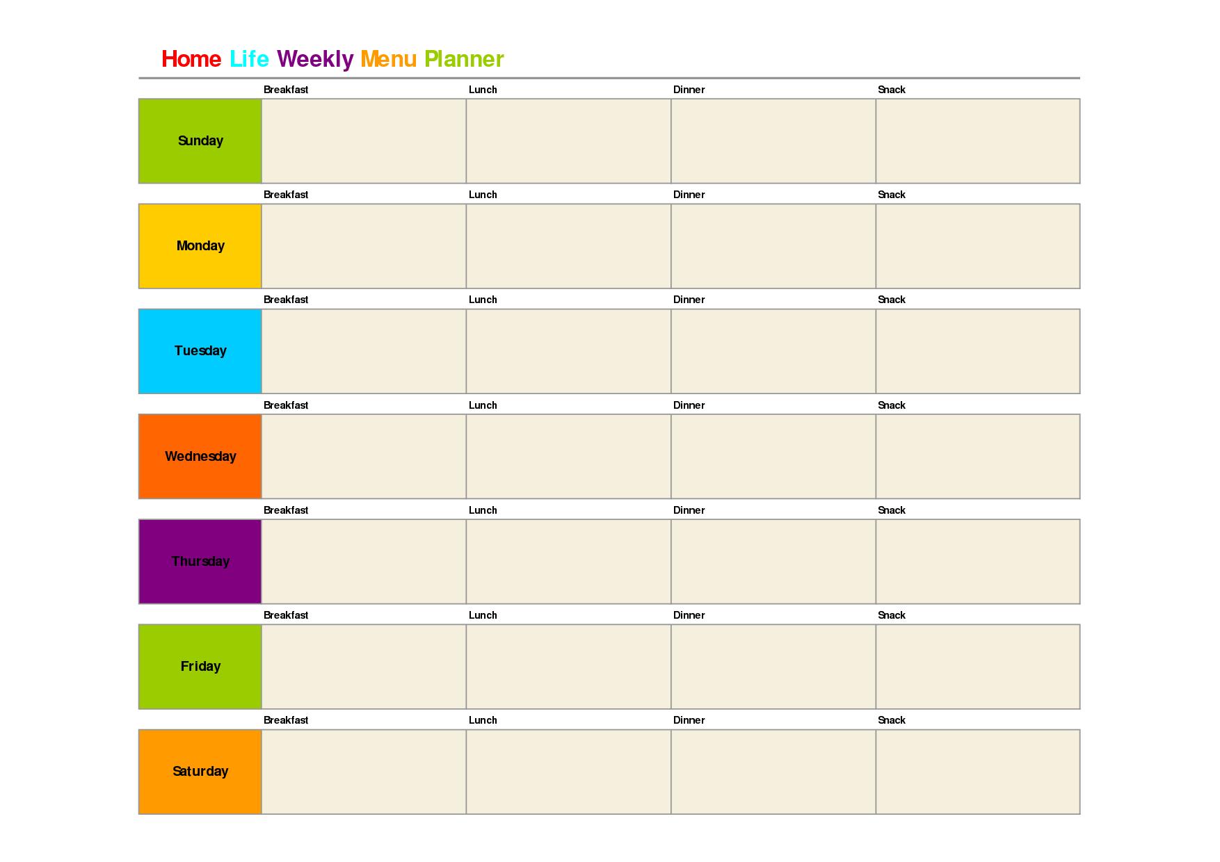 Printable Weekly Dinner Menu Planner Template