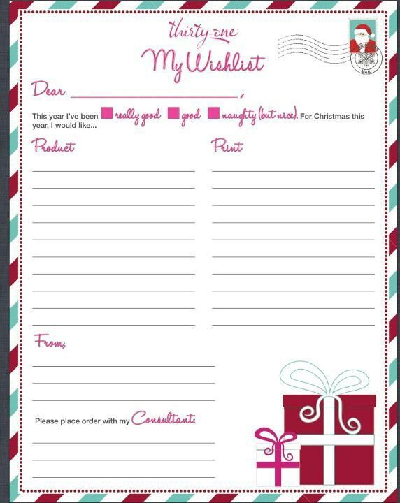 6 Images of Thirty-One Printable Wish List