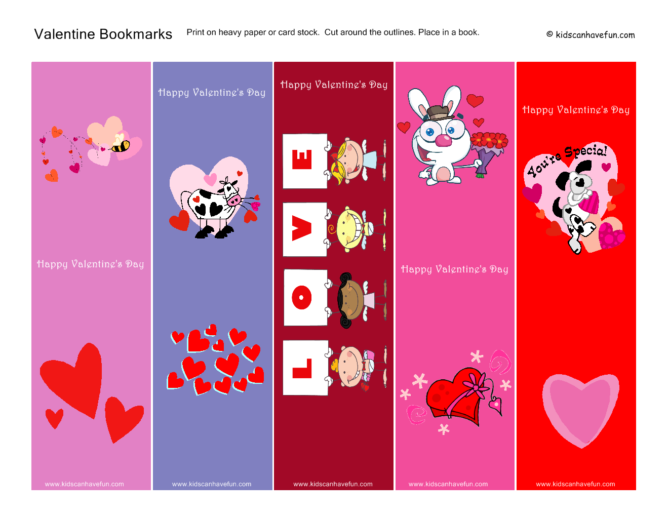 7 Images of Free Printable Valentine Bookmarks For Kids