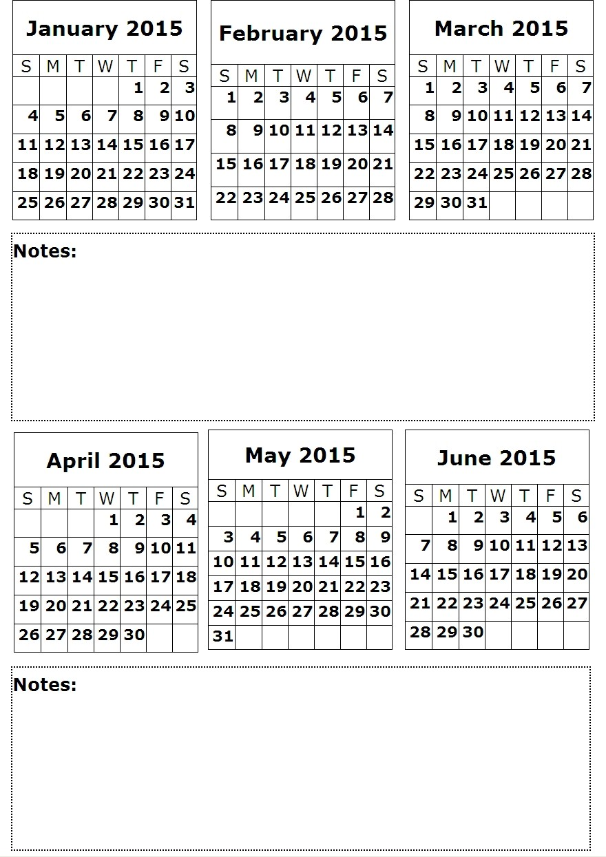 2015 Calendar Printable 6 Month One Page