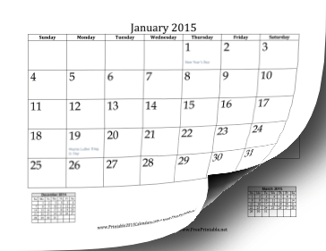 2015 Printable Calendar Month by Month