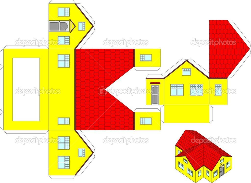3D Paper House Printable Crafts