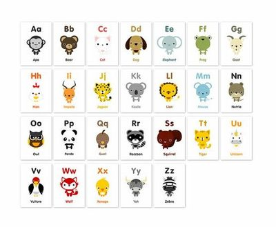 8 Images of Animal Alphabet Printable Flash Cards
