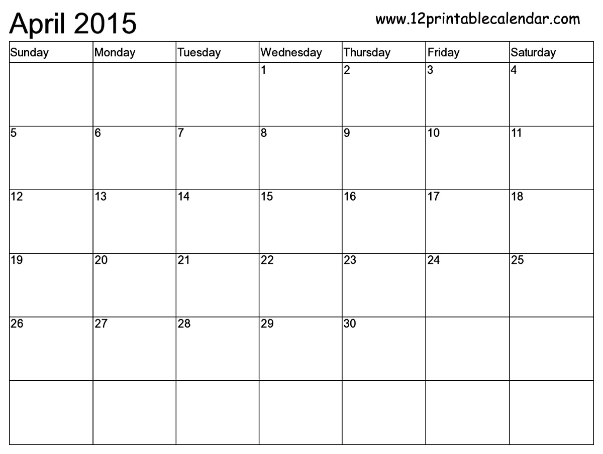 April 2015 Calendar Printable Template