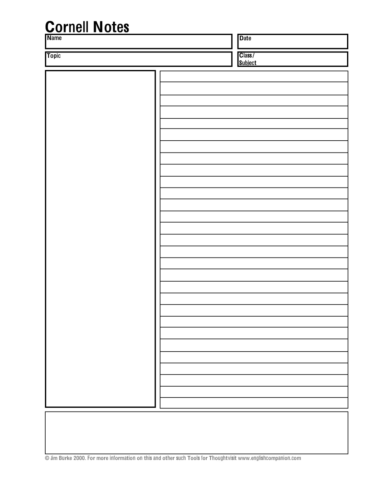 5 Images of Printable Blank Note Taking Worksheets