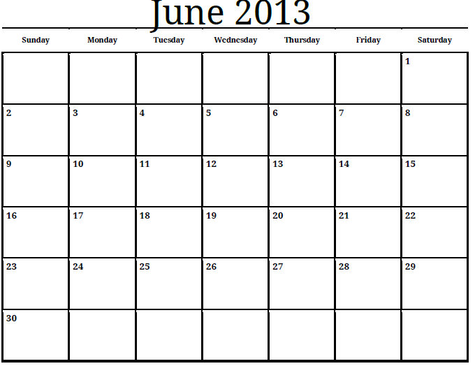 Calendar June 2013 : Best images of june july calendar printable