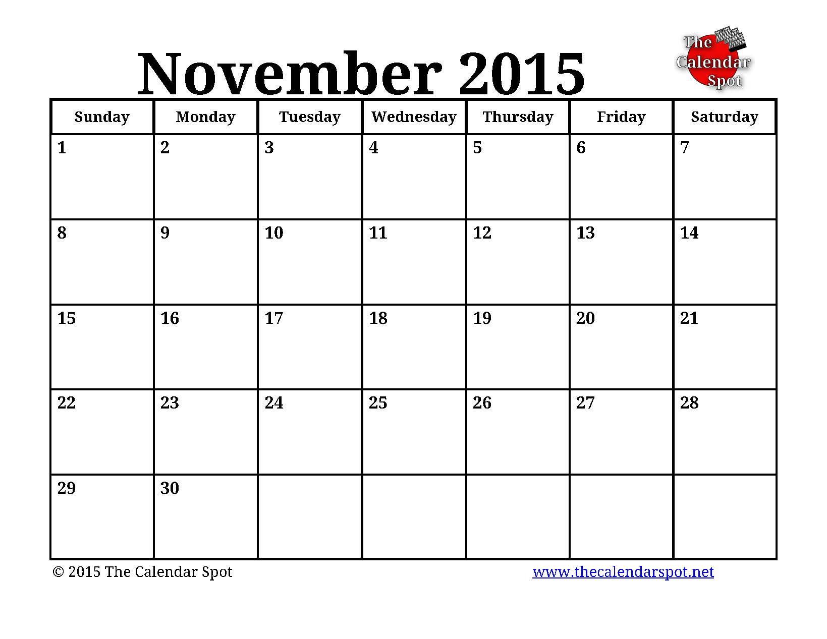 8 Images of Blank November 2015 Calendar Printable