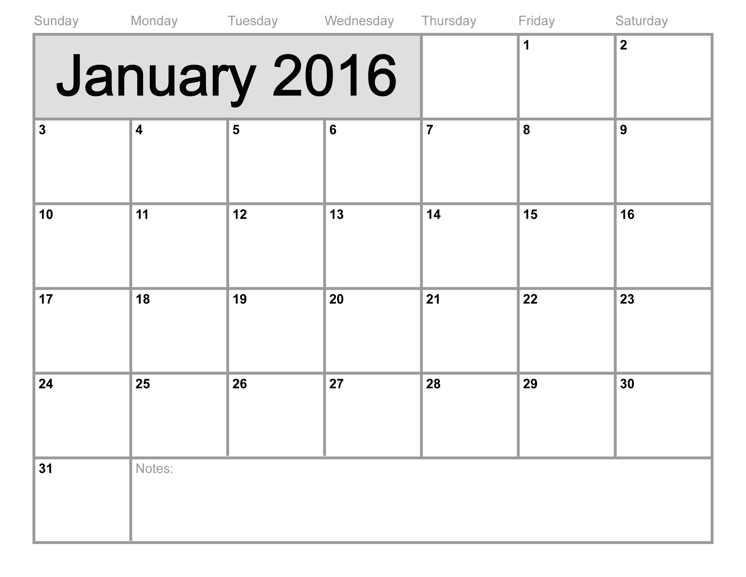 9 Images of Blank January Calendar 2016 Printable