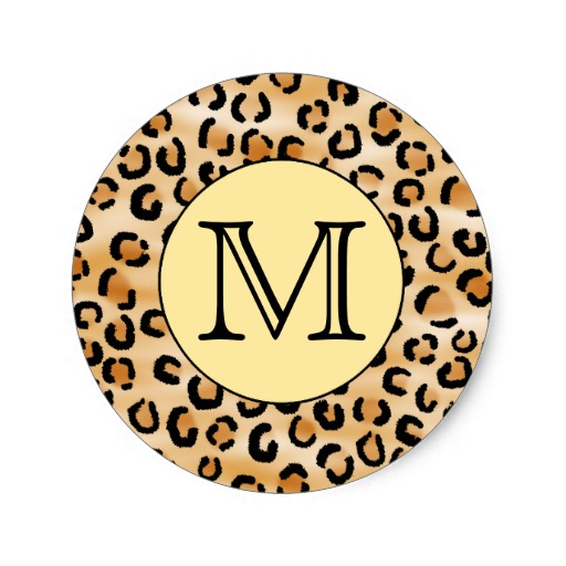 Cheetah Print Monogram Stickers