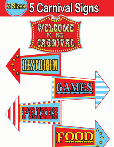 7 Images of Free Printable Carnival Directional Signs