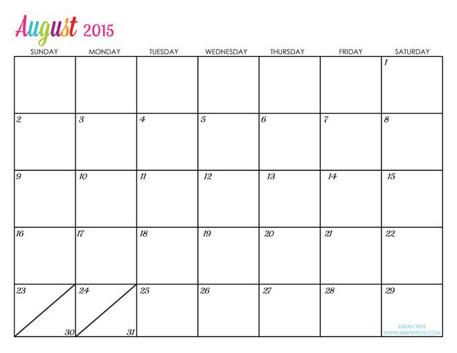 8 Images of August 2015 Calendar Free Printable Cute Baby