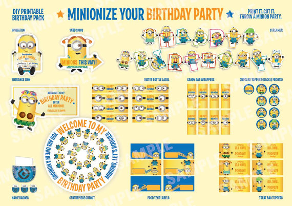 5 Images of Minion Party Food Label Printables