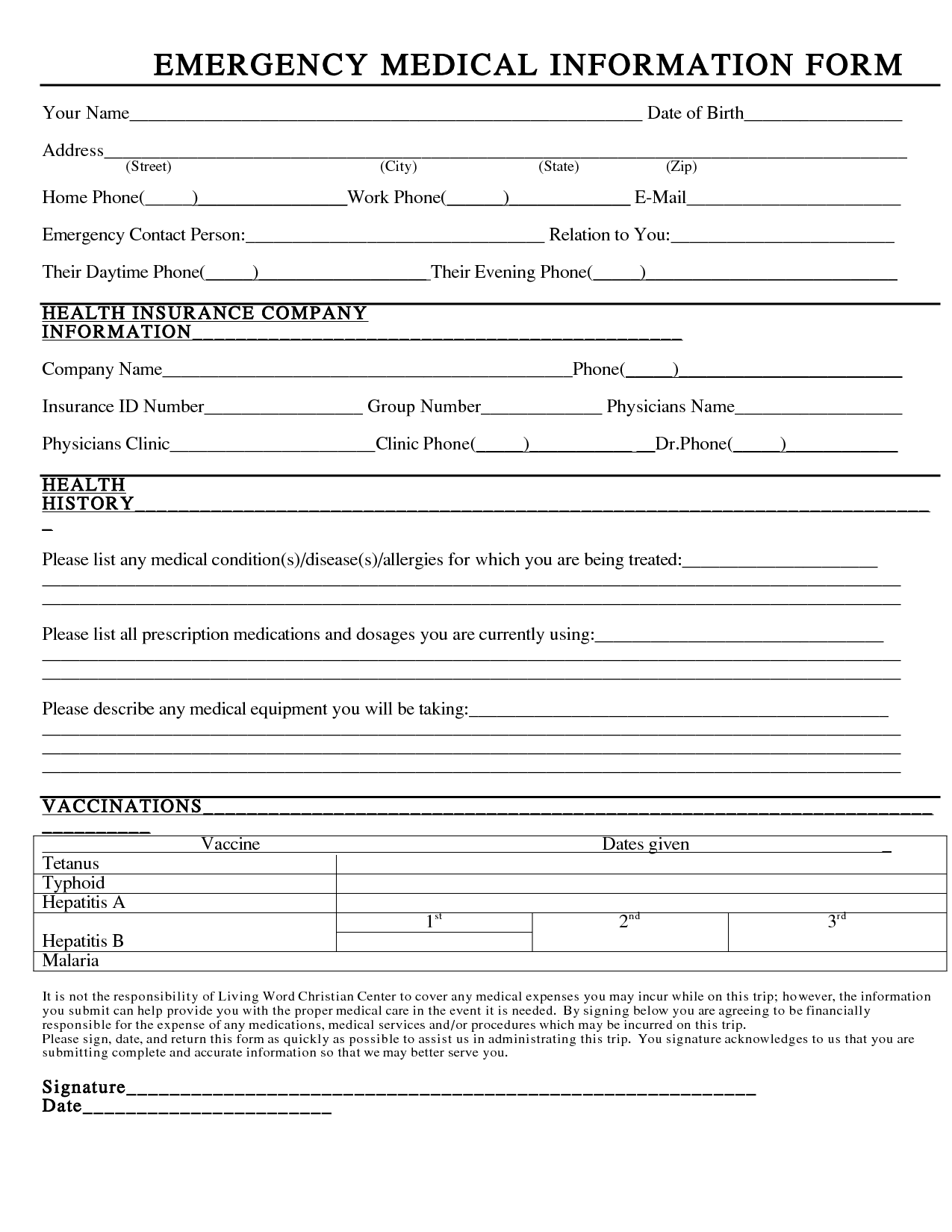 emergency medical form template