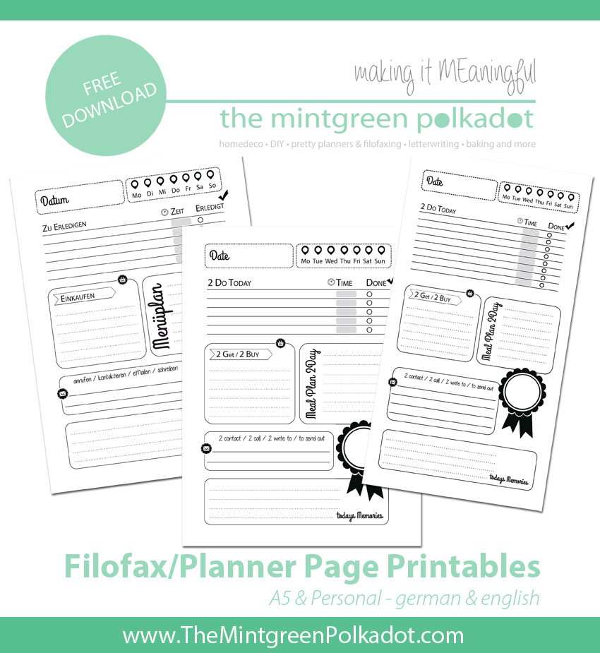 Filofax A5 Printable Planner Pages for Free