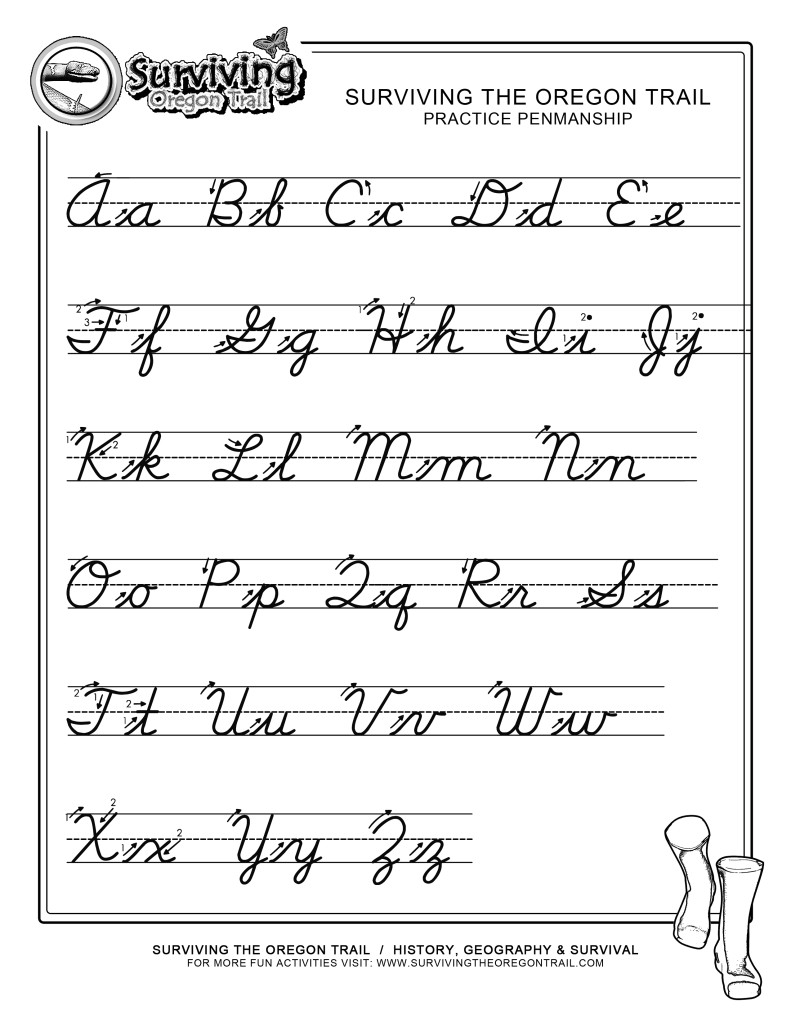 Worksheet Cursive Writing Chart Printable Worksheets 6 best images of free printable cursive alphabet letter worksheets writing worksheet printables