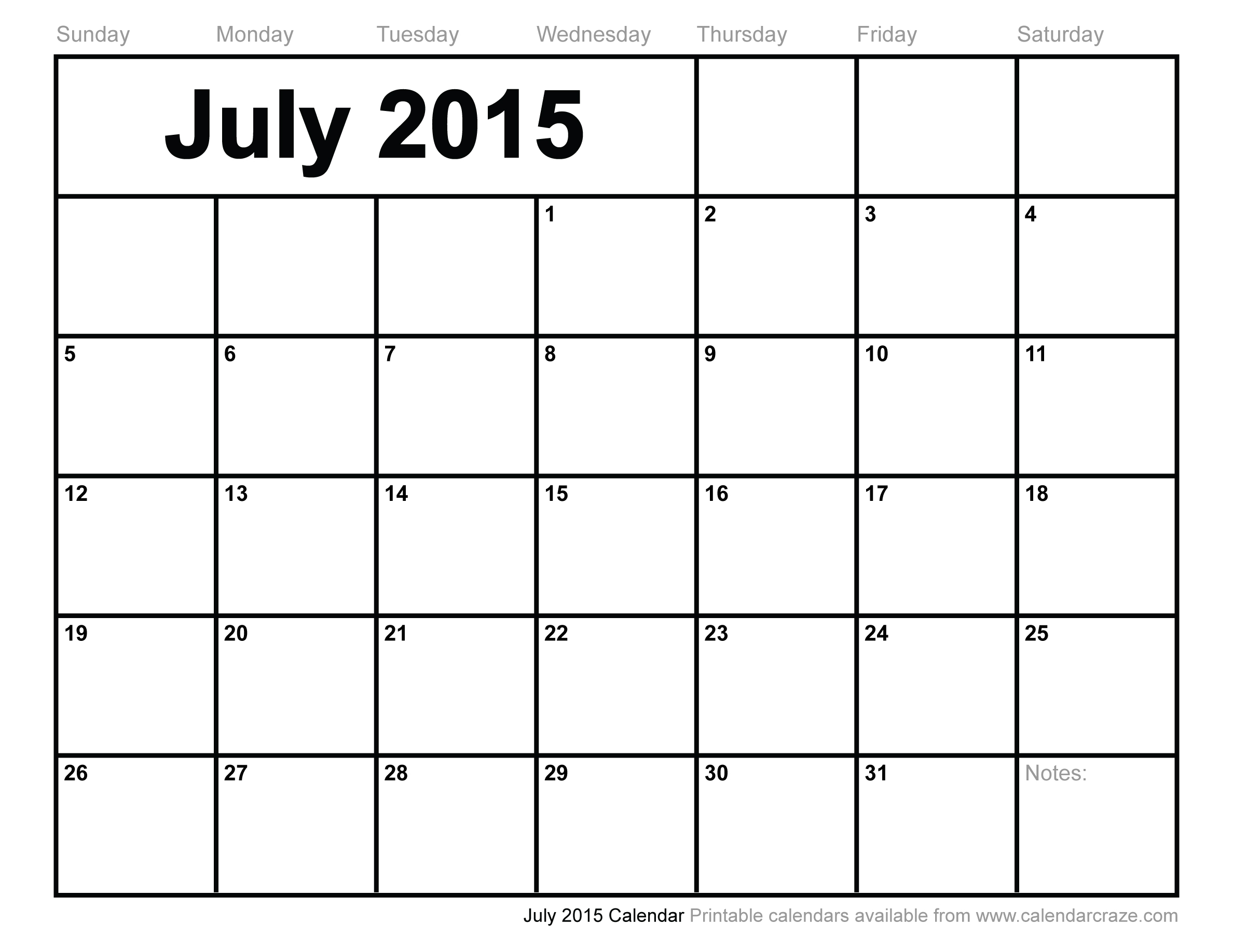 6 Images of July 2015 Calendar Printable