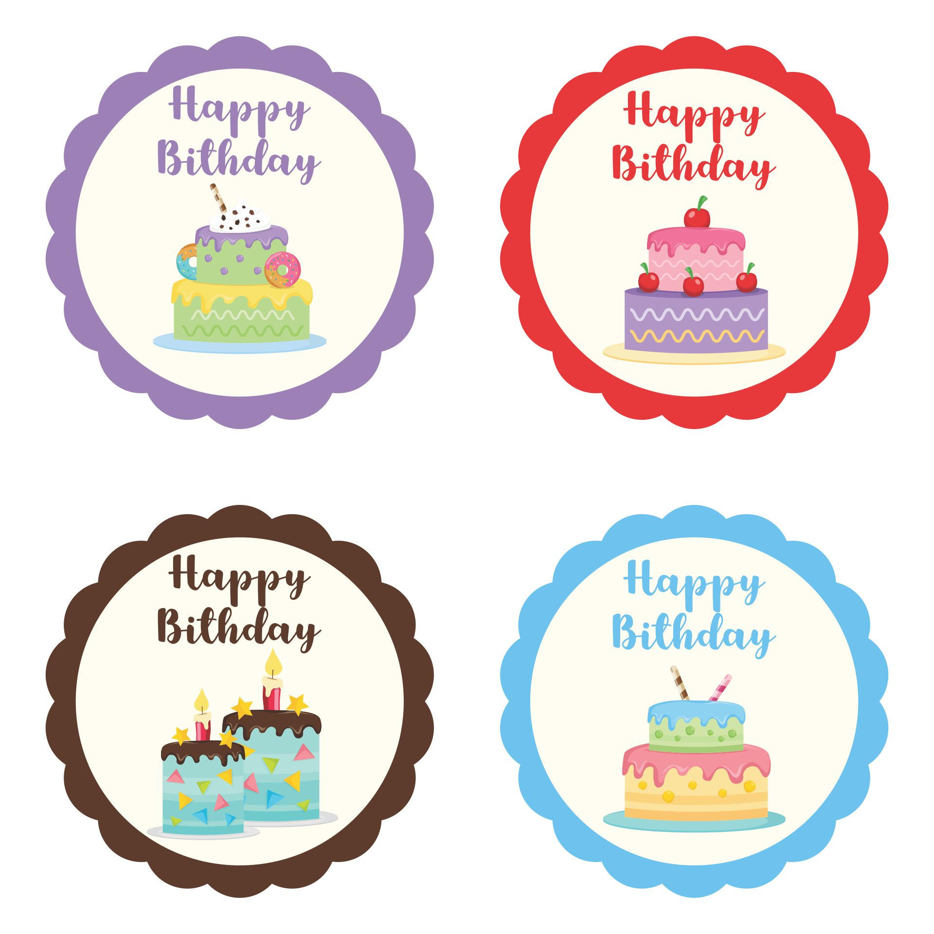 Printable Birthday Cupcake Topper Templates